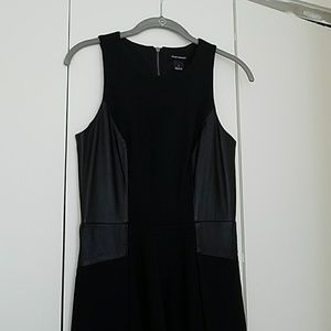 Club Monaco A-line skater dress w/leather siding